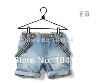 Retail 2014 children's clothing child shorts baby boy girl child denim suspenders shorts baby jeans pants free shipping