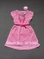 Name Brand Girls Dress Hello Kitty Summer Veil with Belt Fashion Hollow Kitty Dress for 4-12Years Kids Wear