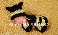Newborn Baby Batman 3 PCS Sets Hat-Glasse,Crochet Cotton Newborn Batman Photo Props 0-3Months