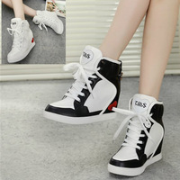 2014 new arrival comfortable wedge elevator 6CM height casual shoes high-top high quality women's shoes DHS12