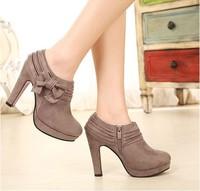 22 sweet bow platform high-heeled single shoes velvet boots 668 - 1