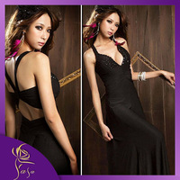2014 New Gemstone Back Cross Sexy Goddess Long Dress, Deep V-neck Fishtail Dresses,Plus Size Party Dress for Evening