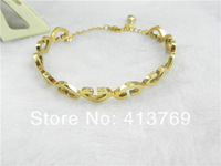 2013 new women's H Brand Design 18K Rose Gold Plated Half Circle Austrian Crystals Cuff Bracelet Stainless Steel bangle