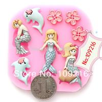 Free shipping !!!1pcs Mini New Style Little Mermaid (F0583) Silicone Handmade Fondant/Cake Decorating DIY Mold