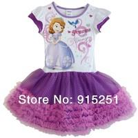 2014 New Arrival Retail Fashion Dress Girl's  Cartoon Sofia TUTU Dresses Kids princess Dress 4-6x size