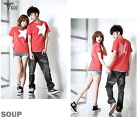 2014 new men women fashion couple t shirt for lovers summer Character cotton casual clothes