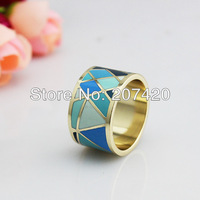Free Shipping Brand Product Ocean Ripple Design Gold Plated Enamel Jewelry Ring,1pcs/pack