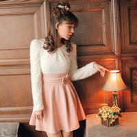 Plush patchwork woolen bow decoration y1453 one-piece dress