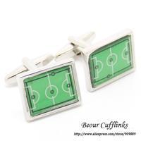 Hot Sale! Free Shipping - Green Football Field Cufflinks