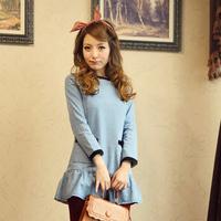2013 autumn vintage denim skirt o-neck long-sleeve dress 2549