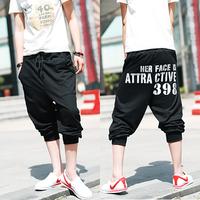 2014 male short trousers beach sports capris pants trend slim capris