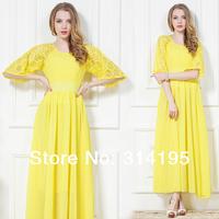 Free shipping high quality 2014 summer women yellow lace dress chiffon one-piece dress bohemian beach dresses S,M,L,XL 86017