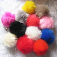 New Xmas Gifts Fashion Colorful Faux Fur Balls Metal Keychains/Keyrings 12 colors