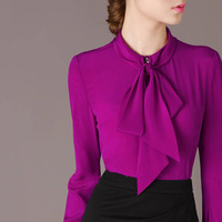 Free Shipping 2014 Spring Fall Elegant Bow Collar Long Sleeve Purple Shirt Blouse Career Tops For Woman Size M- XL 662M02