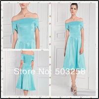 ECD41 Short  Strapless satin cap sleeve bridesmaid dresses 2014