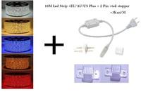 10M/Lot Waterproof  60leds/m 220V 3528 LED Strip light  Flexible Ribbon LED String light Red blue yellow green white+Power plug