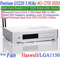 mini itx htpc case itx case with Intel Pentium dual-core pro G3220 3.0Ghz CPU Alluminum pc with Multi card reader 8G RAM 2TB HDD