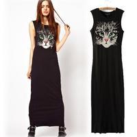 Three-Dimensional 2014 New Arrival Spring Summer Green Eye Owl Pattern Print Sleeveless Vest Full Dress Black Casual Dresses HOT