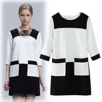 Fashion spring ladies elegant classic black and white color block o-neck three quarter sleeve double pocket one-piece dress