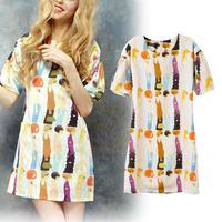 2014 spring cartoon portrait print back zipper puff sleeve o-neck short-sleeve mini dress S/M/L new fashion hot selling