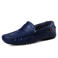 Genuine leather plus velvet thermal male casual shoes fashion gommini men's leather loafers shoes male shoes