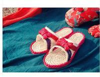 2014 Summer New Green Slipper Natural Straw Handmade Slipper Casaul Eco-friendly Male/Women Flip Flops Linen Tatbeb Red Rubber