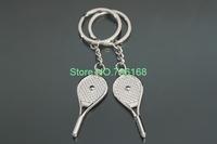Free shipping llaveros deporte cute design metal lover sport keychains fashion badminton racket key rings chain for sport person