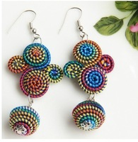 Free shipping ( minimum order is $15) Hot sale national windy colourful string vintage women long handmade earrings