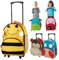 Cartoon Zoo Animal Canvas Trolley School Bag with wheels / Travel Bag rolling Luggage for Children/ kids Satchel ,1717
