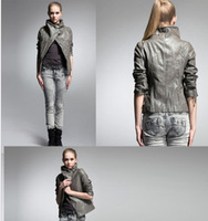 2014 leather clothing female short design slim coat PU leather jacket women/Free Shipping