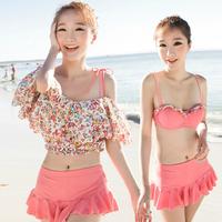 Free shipping 2014 swimwear bikini split skirt steel push up swimwear Korean bikinis women swimsuit
