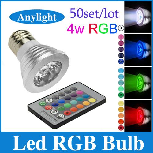 50pcs/lot 4w e27/gu10/gu5.3/e14/mr16 rgb-led-lampe 16 farbwechsel scheinwerfer 85- 265v punktlicht + ir-fernbedienung wsp24