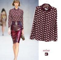 2014 summer new shirt women heart pattern printed elegant temperament long sleeve blouses & shirts r330