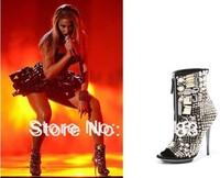2014 New Arrival Women Punk Open Toe Ankle Boots Peep Toe High Heel Crystal Short Sandals Boots Zipper