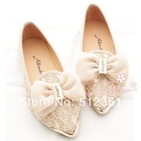 2014 new Free shipping new spring shoes qiu han edition metal point flat bottom shoe lace bowknot princess OL female shoes