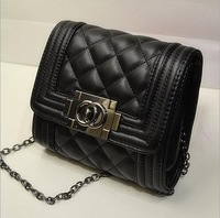 New 2014 Mini Leather Women Handbags Clutch Ladies Chain Messenger Bags Fashion Retro Plaid Cross body Bags Free Shipping