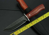 FREE SHIPPING NEW 9.5'' Wood Handle Stone Wash Hunting Knife KJ040