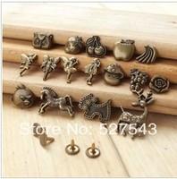 Free shipping good quality antique brass color rivet DIY accessories 80pcs/lot 16 design mixed