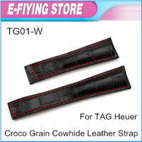 Black Crocodile Grain Cowhide Genuine Leather Watch Band 22mm Watch Strap For TAG Free Shipping