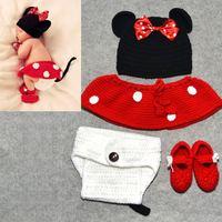 1set Cute Infant Photo Props Baby Crochet Mickey Mouse Hat Skirt Pants Shoes Sets Toddler Hat ect. 4pcs