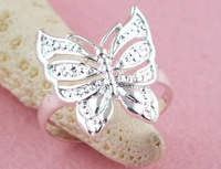 Wholesale fashion jewelry 30pcs sterling silver fashion beautiful butterfly rings size 6-8