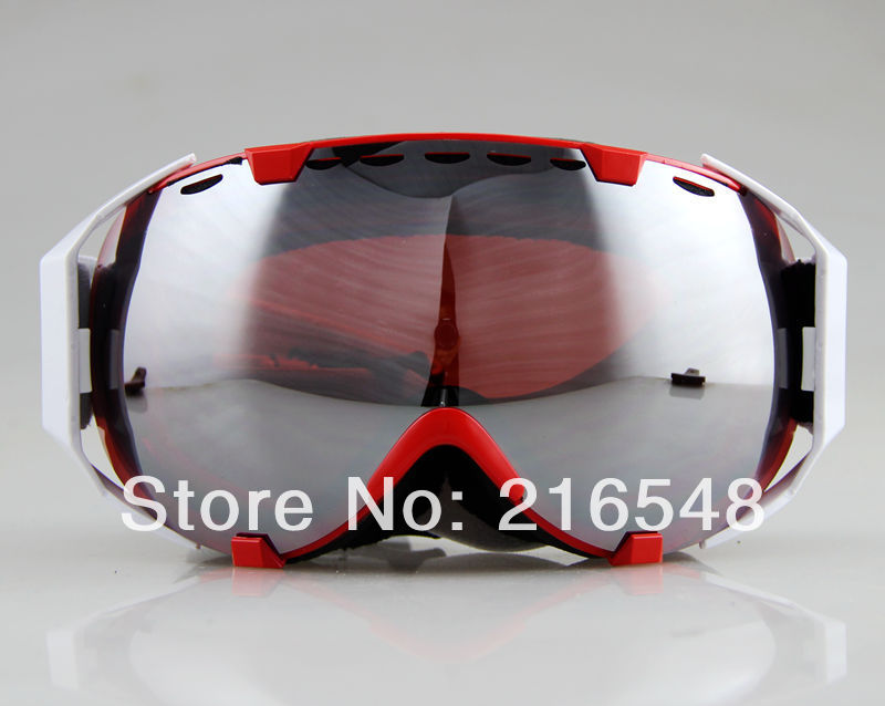 Free shippingAdult Snow Snowboard Ski goggles Double Anti-fog Red Wine Lens Red Frame(China (Mainland))