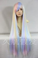 cosplay Harajuku lolita long Straight hair gradient Rainbow Full cos Wig