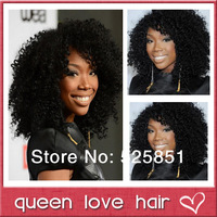 Heavy density celebrity Brandy style kinky curly wig brazilian human hair lace front wig with baby hair and bleached knots.