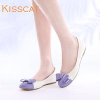 Kisscat KISS CAT k44113-02qd bow round toe flat heel patent leather single shoes