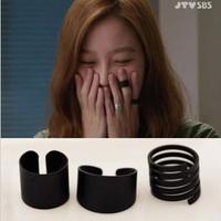 Free Shipping!2014 Fashion Scrub Black Finger Ring Spiral Circle Piece Set Ring Dull Pinky Ring Opening