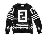 Women Men  FAKE FF Sweatshirt HOMME FEMME LAGERFELD 17 HOCKEY SWEATER Hoodie black Free Shipping