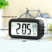 New 1pcs Black Digital LED LCD Snooze Station Calendar Desk Alarm Clocks CK1001 Free Shipping