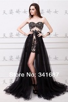 2014New arrival Tulle A-line strapless two way skirt two piece sleeveless sweetheart chapel train sexy Bridal Gown Evening Dress