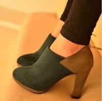 2012 9187 fashion velvet color block decoration women's platform shoes